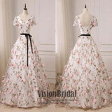 Floral V-neck Half Sleeves Prom Dress, Lace Up Prom Dress, Hot Sale Prom Dress With Sash, VB071 - Visionbridal