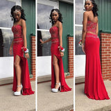 Sweetheart Red Two Pieces With Beaded Prom Dress, Sexy Side Slit Prom Dress, Prom Dresses, VB0113 - Visionbridal