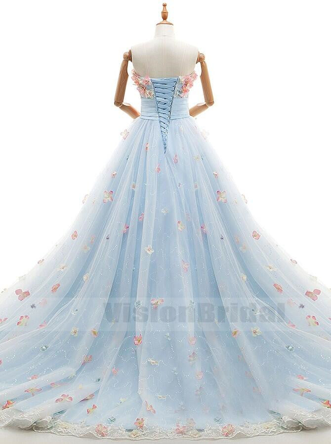 Alluring Light Blue A-Line Sweetheart Court Train Sequin Tulle Wedding Dress With Flower Appliques, Gorgeous Embroidery Wedding Dress With Beaded, VB0763