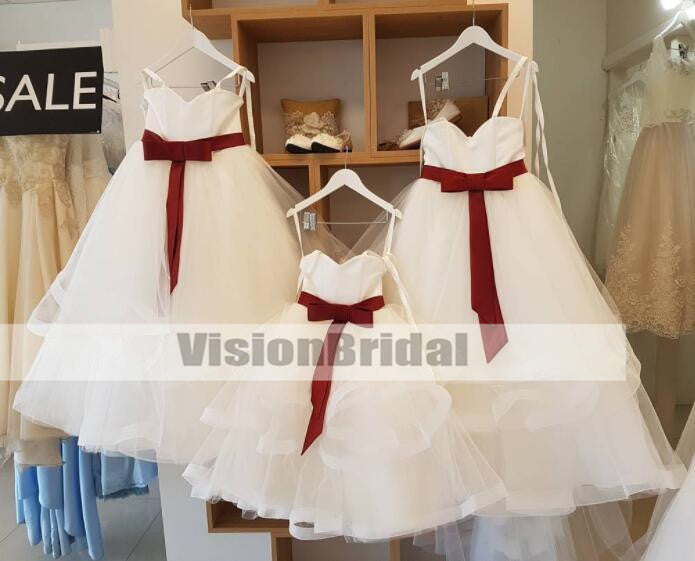 Simple Spaghetti Straps Lace Up Layered Flower Girl Dresses for Wedding, Lovely Organza Flower Girl Dresses With Sash, Cheap Flower Girl Dresses, VB0950
