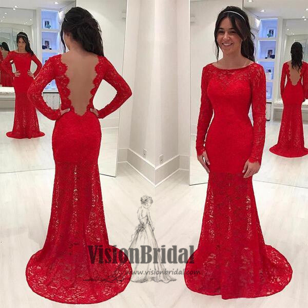 Red Scoop Neckline Lace Prom Dress, Charming mermaid Long Sleeves Open Back Long Prom Dress, Prom Dresses, VB0253 - Visionbridal