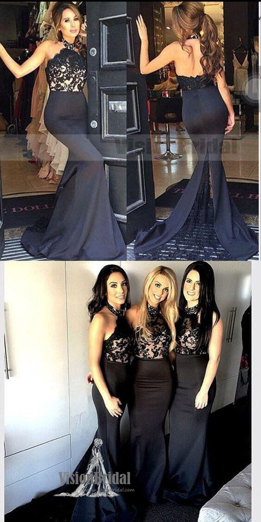 Women Black Lace Halter Mermaid Sexy Long Affordable Impressive Bridesmaid Dresses, Bridesmaid Dresses, VB0502
