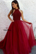 Charming Halter Top Beaded Long A-Line Tulle Prom Dresses, Prom Dresses, VB01309
