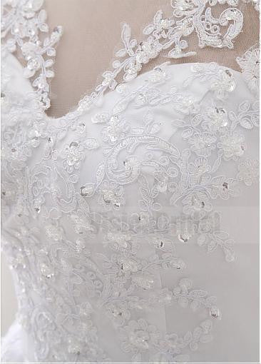 Charming Scoop Neckline A-line Floor-Length Beading Lace Wedding Dresses With Lace Up Back, Wedding Dress, VB0738