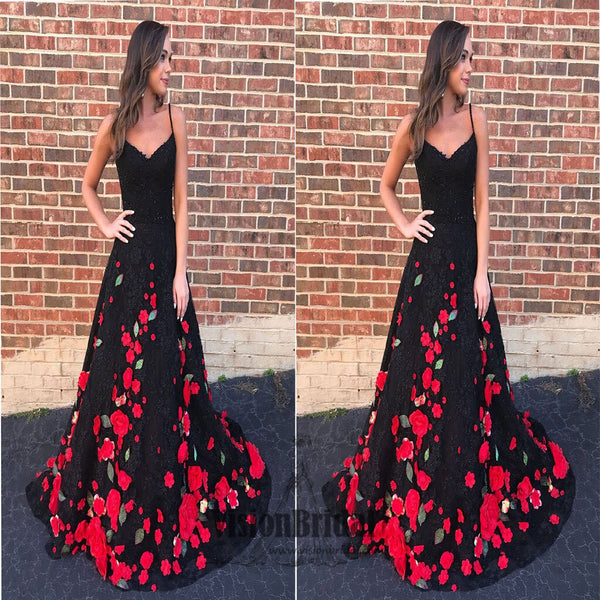 2018 Gorgeous Spaghetti Straps Flower Printed Lace Tulle Long Prom Dress, Beautiful Prom Dress, VB0391 - Visionbridal