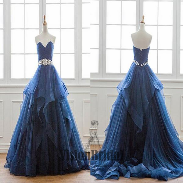 Navy Blue Sweetheart Long Ruffles With Beaded Prom Dress, Princess Lace Up Prom Dress, Prom Dresses, VB0254 - Visionbridal