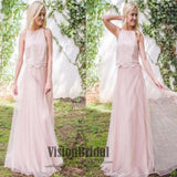 Pink High Neck Lace Top Tulle A-Line Floor Length Bridesmaid Dress, Bridesmaid Dresses, VB0315 - Visionbridal