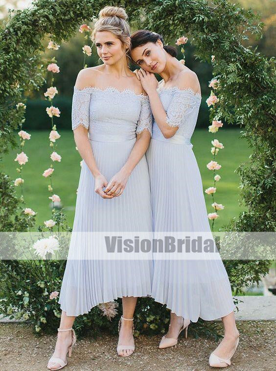 Off-the-Shoulder Top Lace Light Blue Pleated Chiffon Bridesmaid Dresses, Long A-Line Bridesmaid Dresses, VB0896