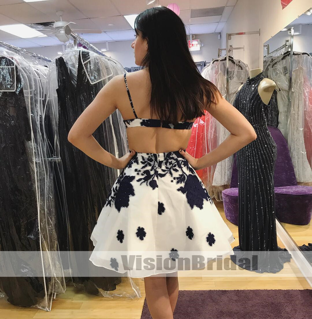 Cute Spaghetti Straps Short Homecoming Dress With Navy Blue Lace Appliques, Unique A-Line Homecoming Dresses With Beaded For Freshman, VB0972