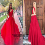 Red V-Neck Sleeveless Lace Embroidery A-Line Prom Dress, Charming Party Dress, Prom Dresses, VB0260 - Visionbridal