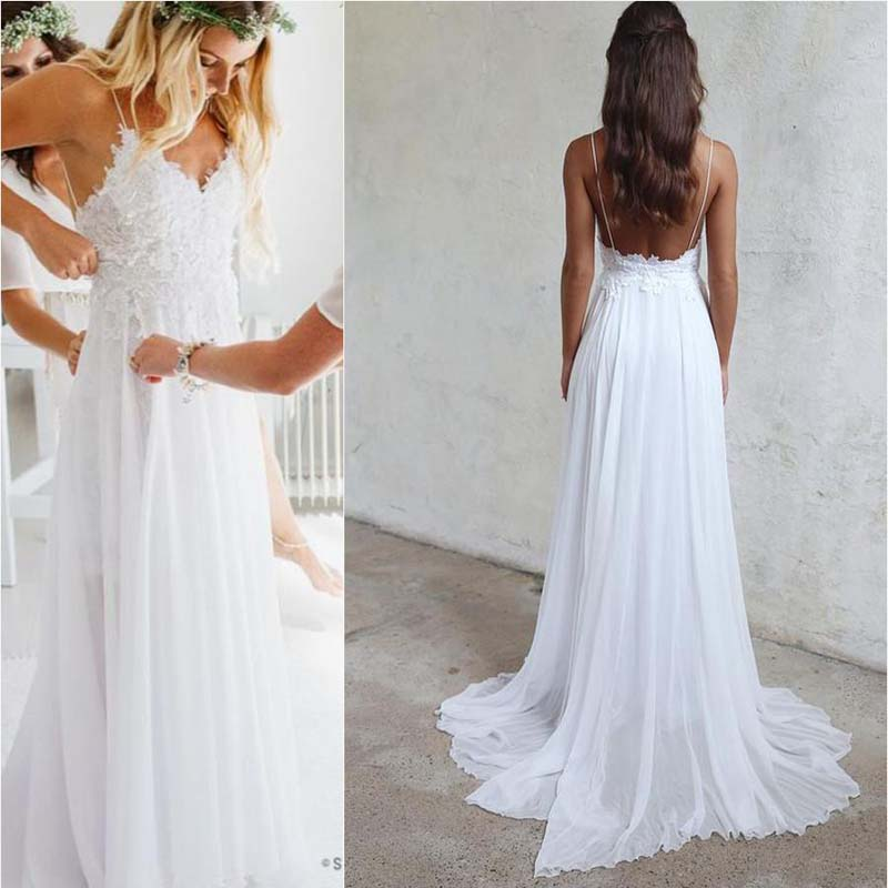 Spaghetti White Lace Chiffon Wedding Dresses, Affordable Floor Length Wedding Dresses, Wedding Dresses, VB0208 - Visionbridal