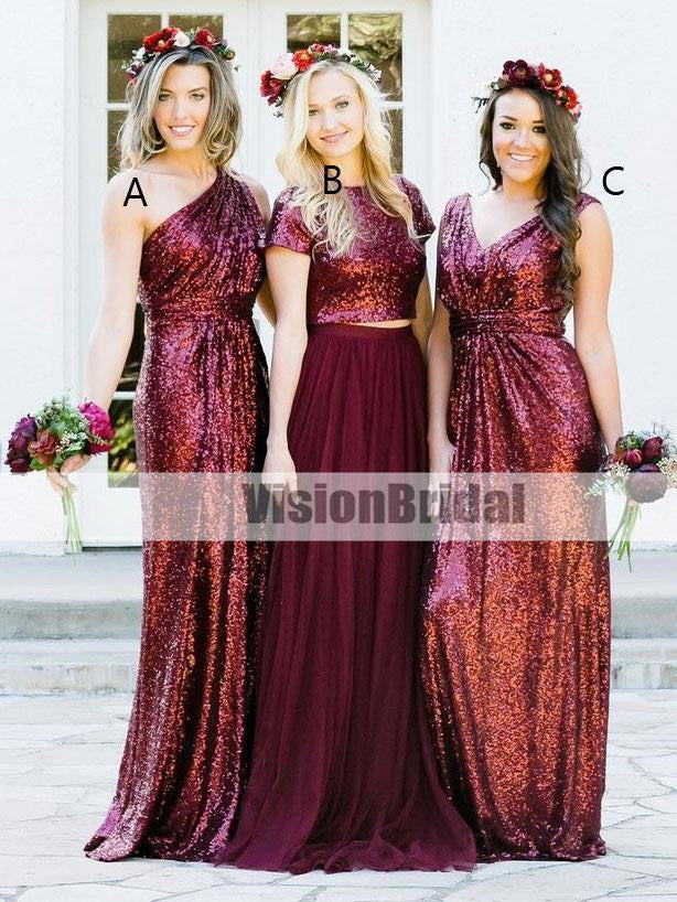 Dark Red Sequin Mismatched Custom Long Bridesmaid Dresses, Shinny Bridesmaid Dresses, VB0856
