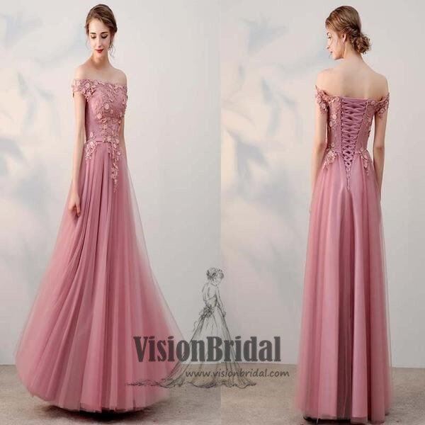 Peachy Pink Cap Sleeves Lace Up Applique With Beaded Tulle Long Prom Dress, Charming Prom Dress, VB0284 - Visionbridal