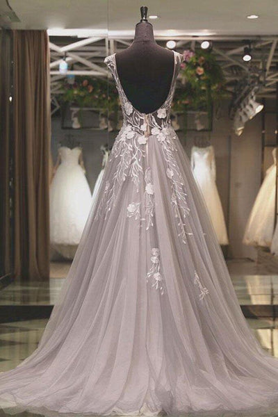 Grey See Through Open Back Prom Dress With White Appliques, Charming A-Line Long Prom Dress, VB0496 - Visionbridal