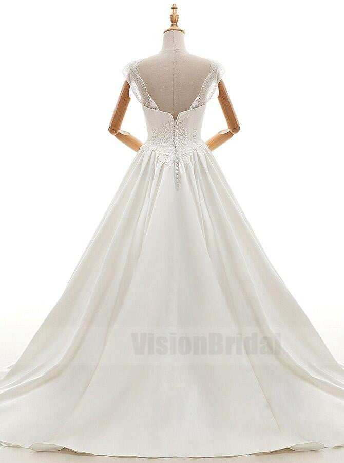 Gorgeous A-Line Bateau White Satin Open Back Wedding Dress With Lace, Wedding Dress With Trailing, VB0761