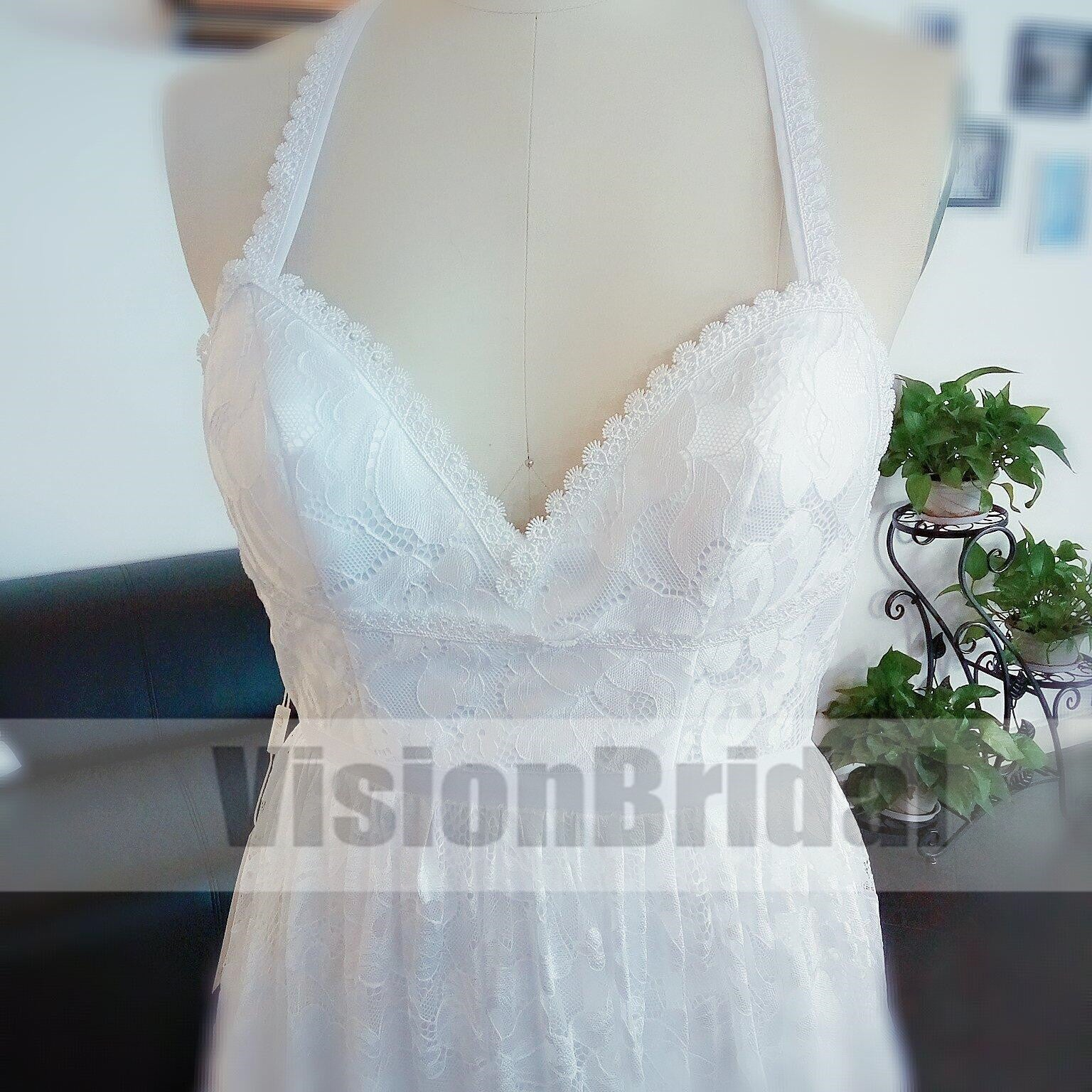White Halter Open Back Lace Tulle Side Slit With Trailing Wedding ...