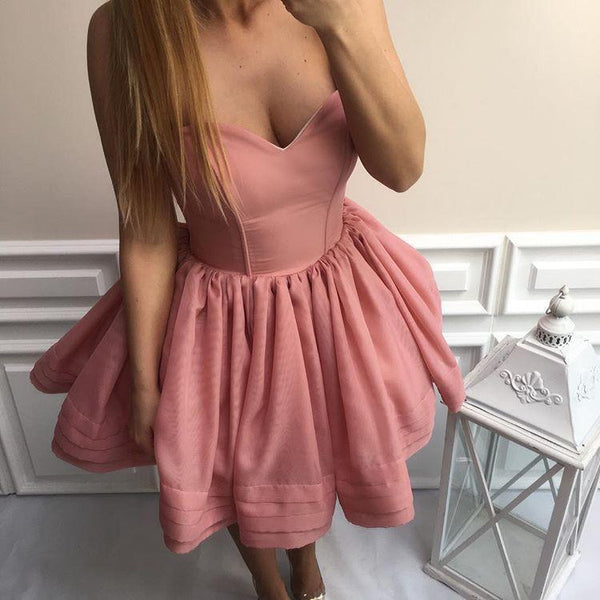 Simple Sweetheart Organza Cheap Short Pink Homecoming Dresses 2018, Homecoming Dress, VB0716