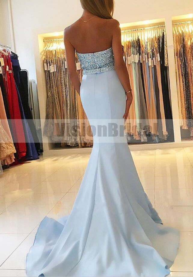 Shinny Light Blue Sweetheart Beading Mermaid Satin Long Prom Dress, Charming And Sexy Prom Dresses, VB0840