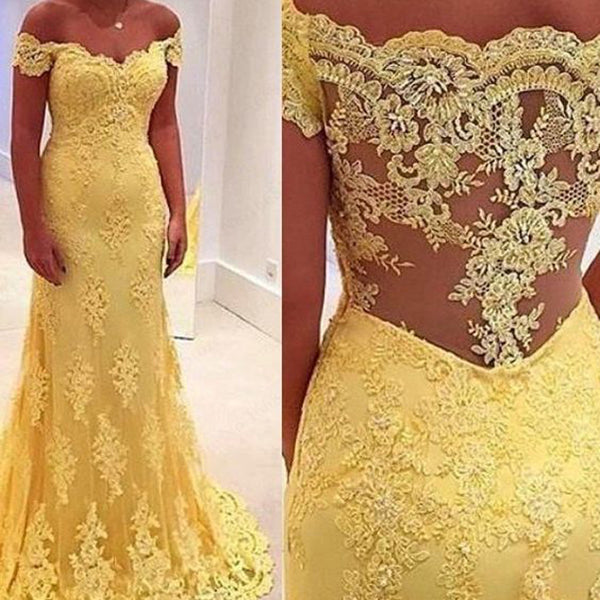 Off Shoulder Lace Tulle Prom Dress, Yellow Mermaid Prom Dress, Charming Prom Dress, VB0101 - Visionbridal