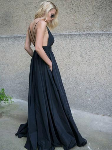 Black Lace Floor Length Open Back Prom Dresses, Sexy V-neck Prom Dresses, Prom Dresses, VB01207