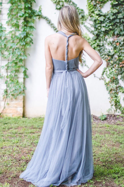 2018 Simple Convertible Sweetheart Long Tulle Bridesmaid Dress, Charming Bridesmaid Dress, VB0404 - Visionbridal