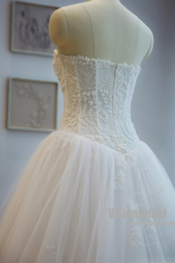 Charming Strapless Appliques A Line Chapel Train Wedding Dress With ...