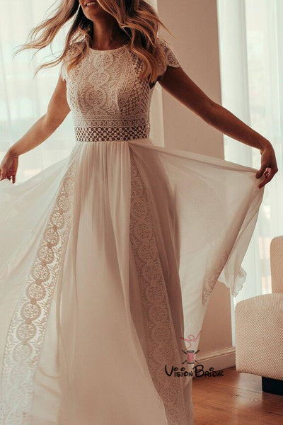 Charming Cap Sleeve Zipper Up Long A-Line Wedding Dresses With Lace Appliques, Wedding Dresses, VB01510