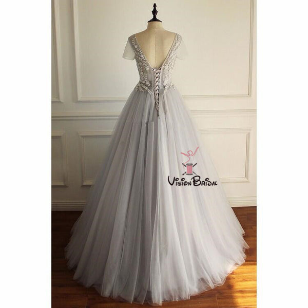 Charming Grey Short Sleeve V-Neck With Lace Long A-Line Tulle Prom Dresses, Elegant Prom Dresses, VB01924