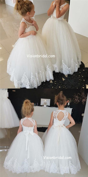 Princess A-line Ivory Long Flower Girl Dress With Sash,Scoop Neckline Open Back Flower Girl Dresses With Lace, VB01017