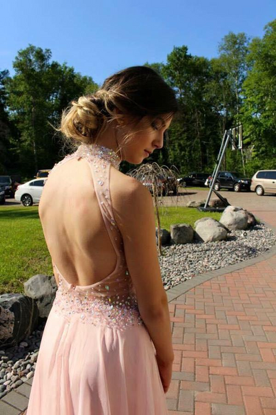 Shiny Pink High Neck Open Back Beading Long A-Line Prom Dresses, Prom Dresses, VB02038