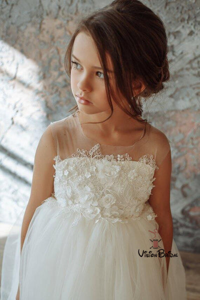 Charming Square Neckline A-Line Tulle Flower Girl Dresses With Appliques, Flower Girl Dresses With Bow-Knot, VB01478