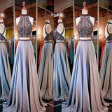 High Neck Sleeveless Open Back Prom Dress, Two Pieces Prom Dress, Affordable Prom Dress, Long Prom Dress, VB082 - Visionbridal