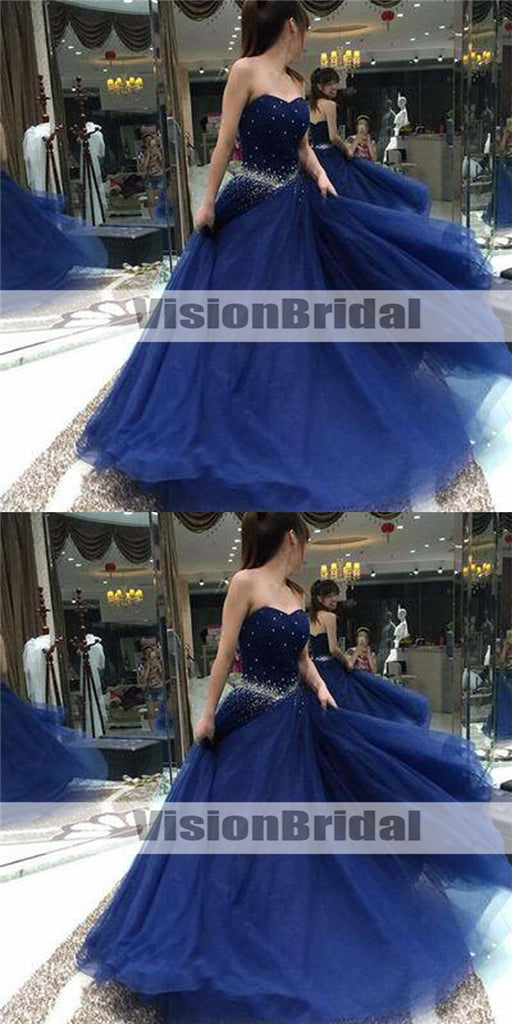 Shinny Royal Blue Sweetheart Beading A-Line Tulle Prom Dresses, Beautiful And Unique Prom Dresses, VB0920