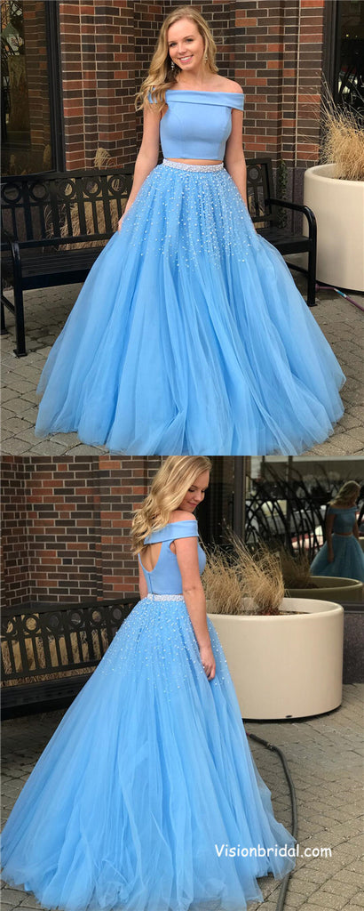 Shinny Princess Two Piece Off the Shoulder Blue Long Prom Dress, Beautiful Prom Dresses With Appliques, Prom Dresses, VB0322
