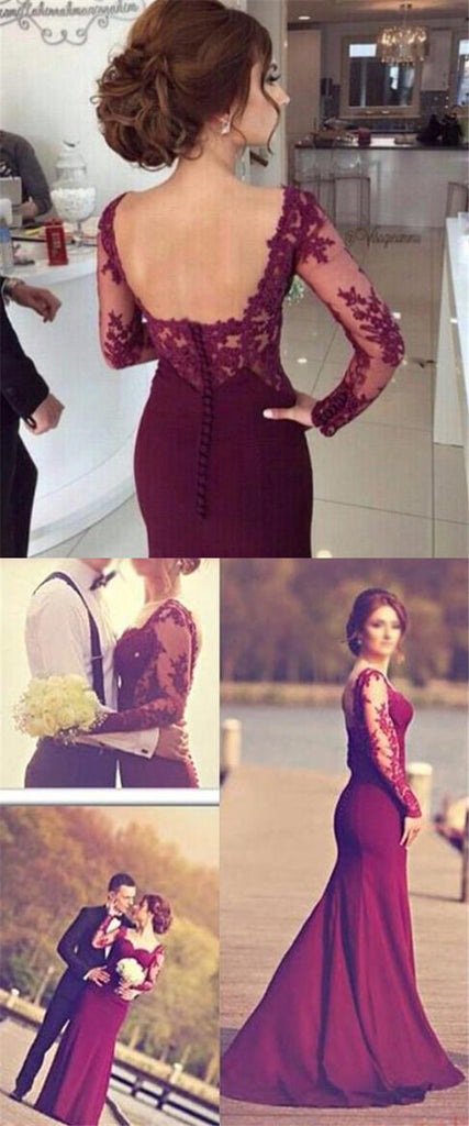 Burgundy Sweetheart With Long Sleeves Open Back Mermaid Prom Dresses, Long Prom Dresses With Lace, VB01216