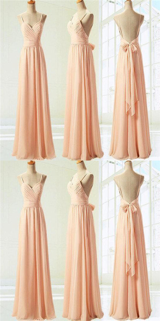 Simple Spaghetti Straps Pleated Open Back Floor-Length Chiffon Bridesmaid Dresses With Bow-Knot, Cheap Bridesmaid Dresses, VB01087