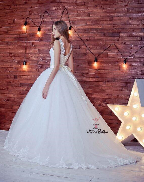 Charming Illusion Lace Up Ball Gown Wedding Dresses With Lace, Wedding Dresses, VB01487