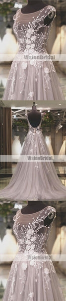 Grey See Through Open Back Prom Dress With White Appliques, Charming A-Line Long Prom Dress, VB0496