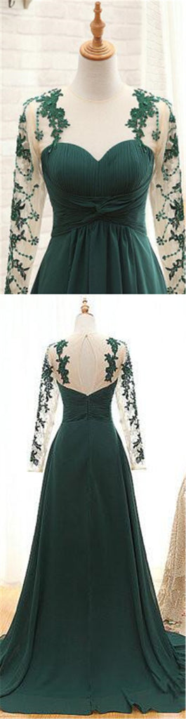 Green Illusion Long Sleeve With Lace Key Hole Back Prom Dresses, Pleated Long A-Line Prom Dresses, VB01227