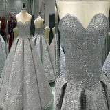 Grey Sweetheart Open Back Wedding Dress, A-Line Embroidery Beading Long Gown, Charming Wedding Dress, VB074 - Visionbridal