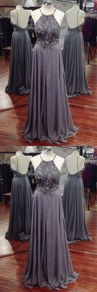 Sparkly Grey Halter Top Beaded Backless Long A-Line Bridesmaid Dresses, Hot Sale Bridesmaid Dresses, VB01158