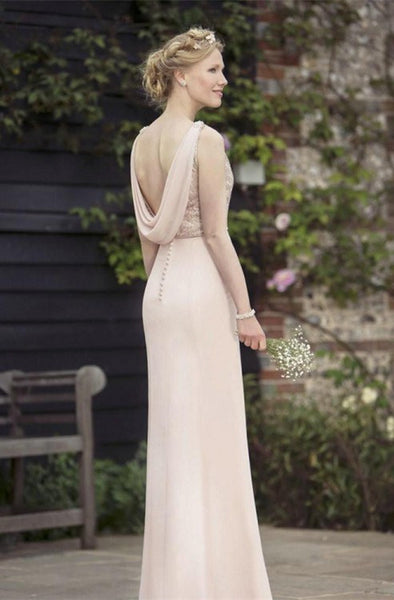 2018 Pink Mismatched Sexy Chiffon A-Line Long Bridesmaid Dresses, Bridesmaid Dresses, VB0409 - Visionbridal