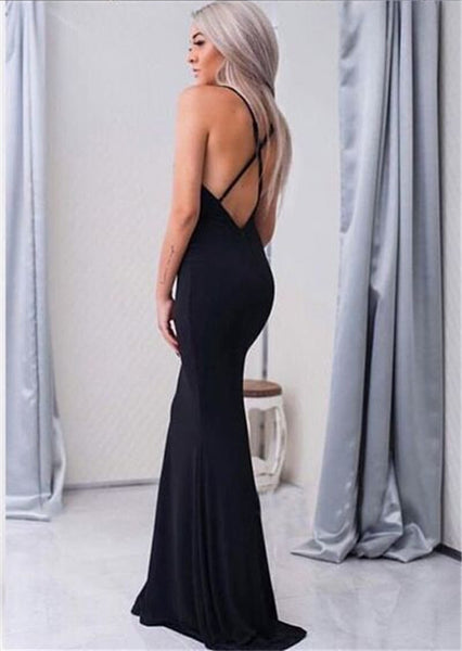 2018 Black Halter Spaghetti Straps V-Neck Mermaid Long Prom Dress, Party Dress, Prom Dresses, VB0336 - Visionbridal