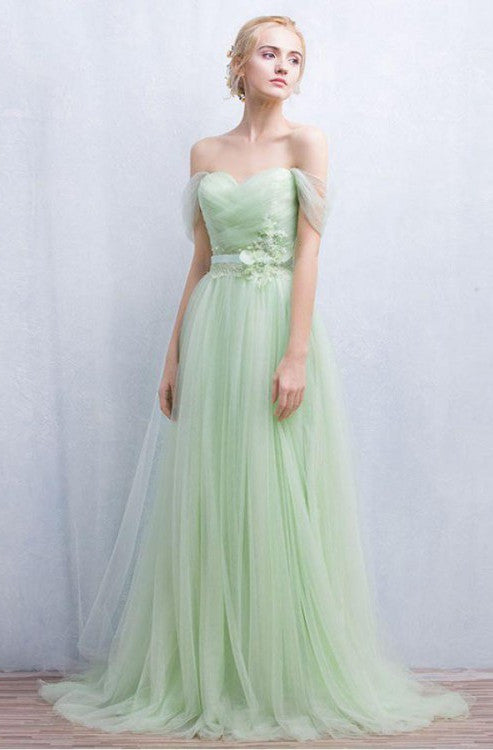 Mint Green Off The Shoulder Sweetheart Lace Up With Lace Appliques A-Line Long Prom Dress, Charming Prom Dress, VB0379 - Visionbridal
