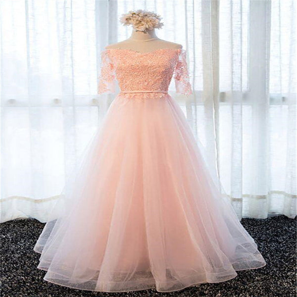 Classy Half Sleeve Lace Up A-Line Long Tulle Prom Dresses With Appliques, Party Dresses, VB01254