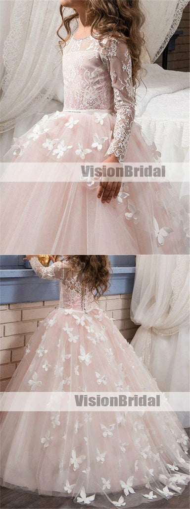 Princess Top Lace Long Sleeves Long A-Line Flower Girl Dresses, Lovely Flower Girl Dresses With Flower Appliques, VB0907
