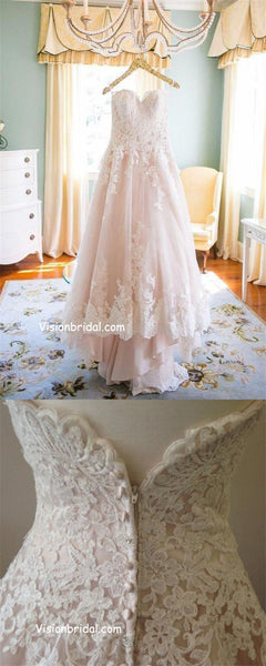 Beautiful Light Blush Pink Sweetheart Wedding Gown High Low Beach Wedding Dresses With Lace Appliques Cheap Zipper Up Bride S Gown Vb01143