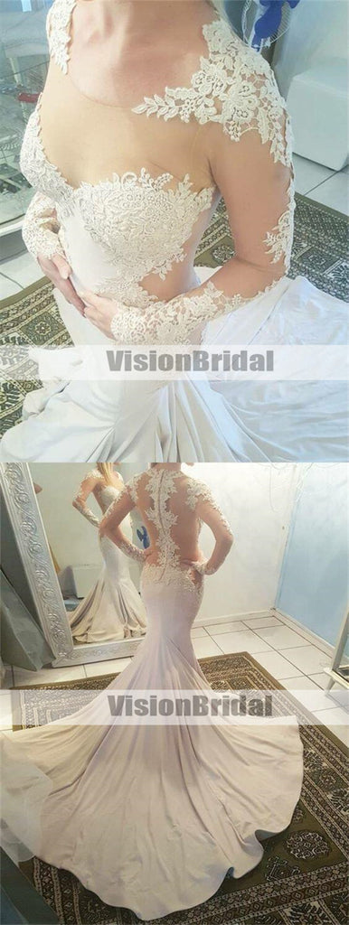 Charming Scoop Neckline See Through Long Sleeves Wedding Dresses With Appliques, Sexy Mermaid Wedding Dresses With Chapel Train, VB0958