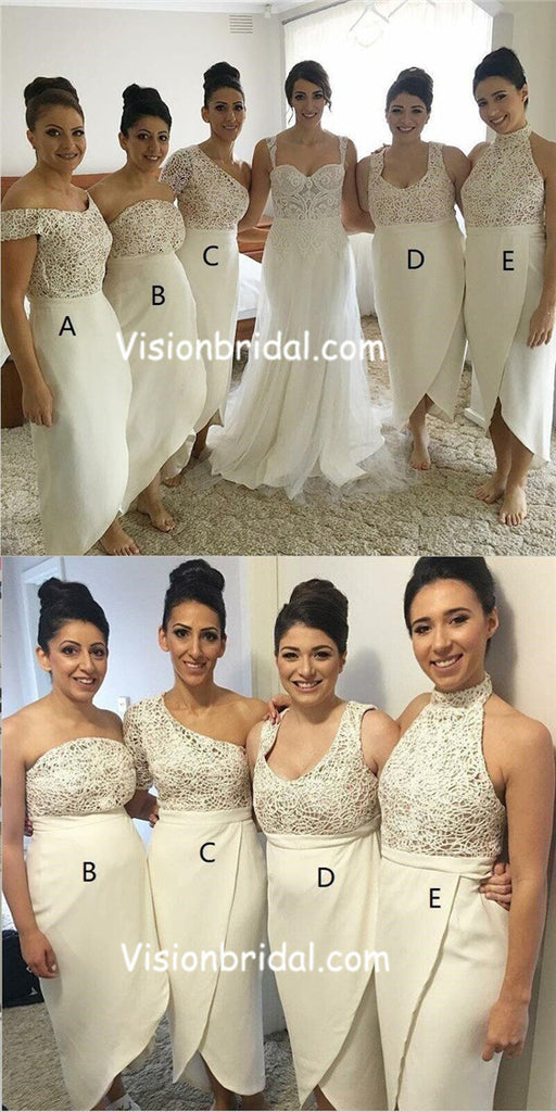 Mismatched Different Styles Ivory Lace Top Newest Design Bridesmaid Dresses, Beautiful Elegant Formal Bridesmaid Dresses, Ankle-Length Bridesmaid Dresses, VB01023