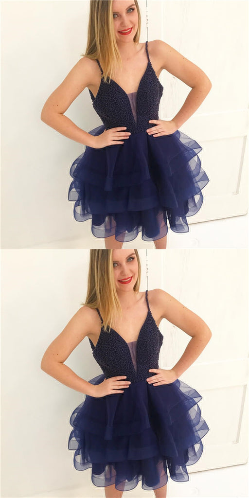 Special Dark Navy Spaghetti Straps Top Beading Layered Organza Homecoming Dresses, Short Homecoming Dresses, VB01114